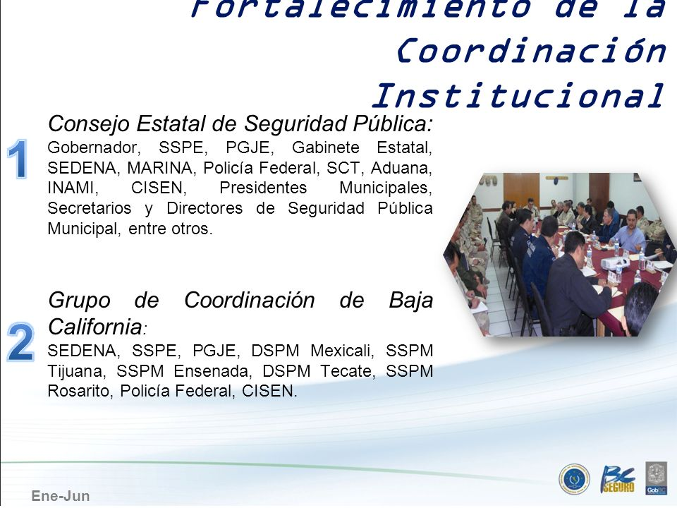 Ene-Jun Consejo Estatal de Seguridad Pública: Gobernador, SSPE, PGJE, Gabinete Estatal, SEDENA, MARINA, Policía Federal, SCT, Aduana, INAMI, CISEN, Pr
