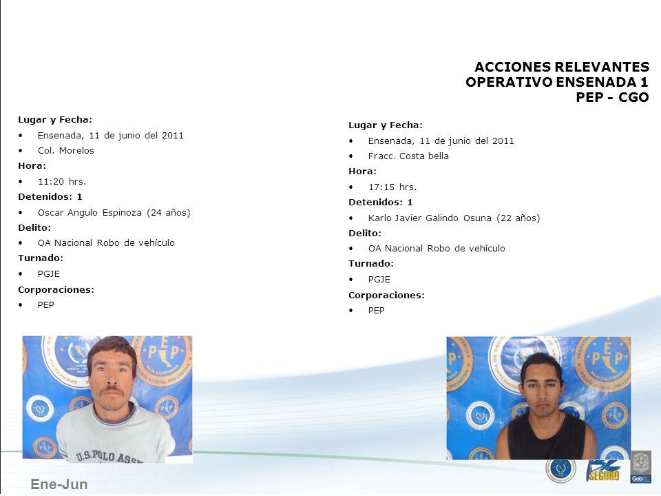 Ene-Jun ENSENADA Lugar y Fecha: Ensenada, 11 de junio del 2011 Col. Morelos Hora: 11:20 hrs. Detenidos: 1 Oscar Angulo Espinoza (24 años) Delito: OA N
