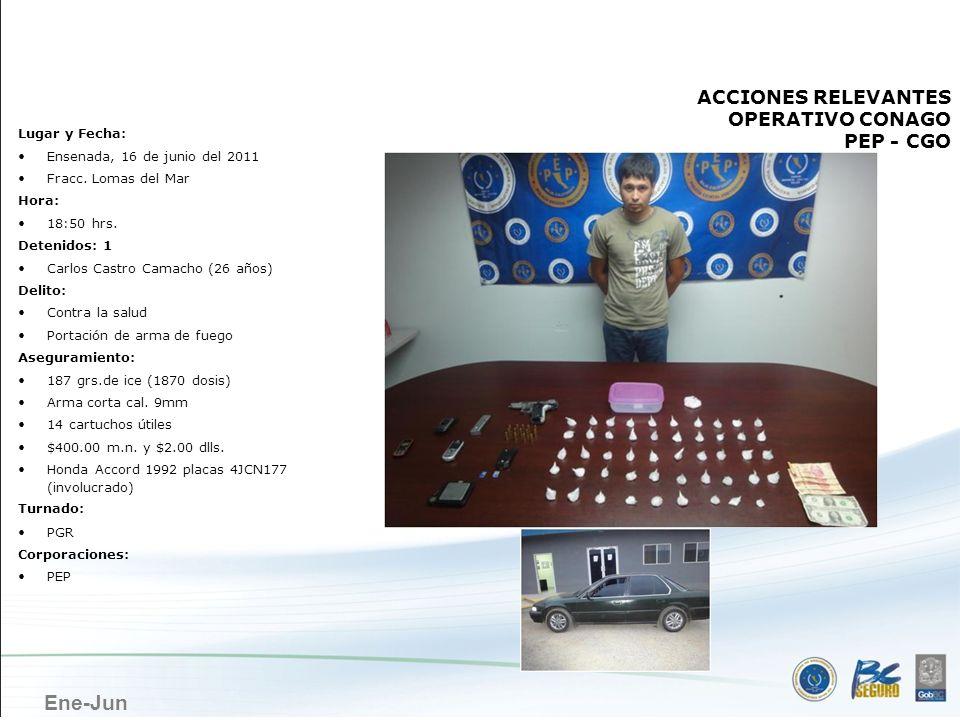 Ene-Jun ENSENADA Lugar y Fecha: Ensenada, 16 de junio del 2011 Fracc. Lomas del Mar Hora: 18:50 hrs. Detenidos: 1 Carlos Castro Camacho (26 años) Deli