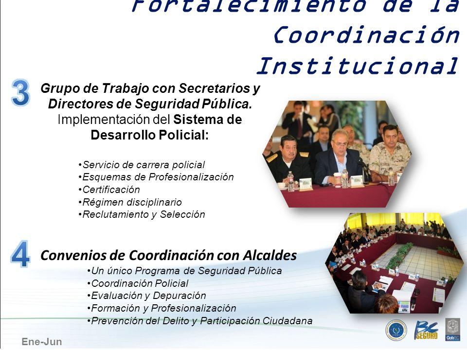 Ene-Jun Grupo de Trabajo con Secretarios y Directores de Seguridad Pública. Implementación del Sistema de Desarrollo Policial: Servicio de carrera pol