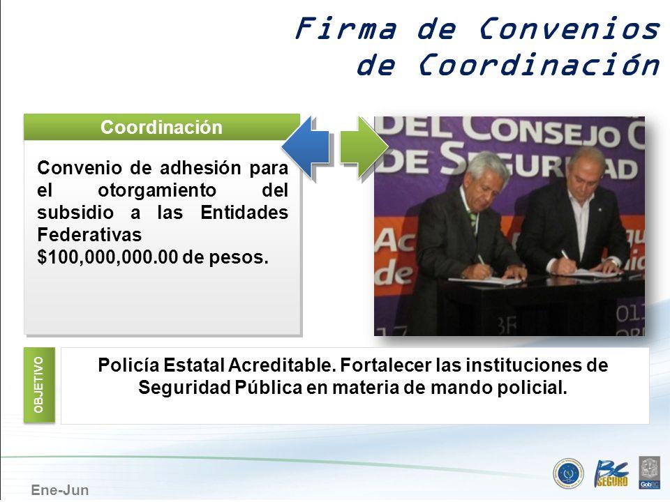 Ene-Jun Coordinación Convenio de adhesión para el otorgamiento del subsidio a las Entidades Federativas $100,000,000.00 de pesos. Convenio de adhesión