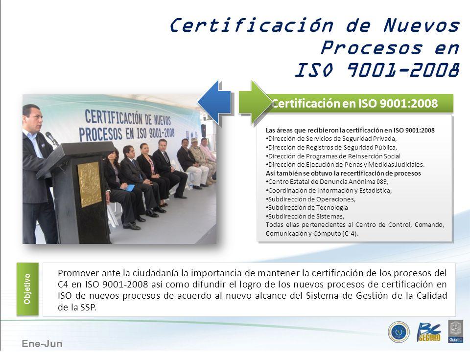 Ene-Jun Certificación de Nuevos Procesos en ISO 9001-2008 Certificación en ISO 9001:2008 Las áreas que recibieron la certificación en ISO 9001:2008 Di