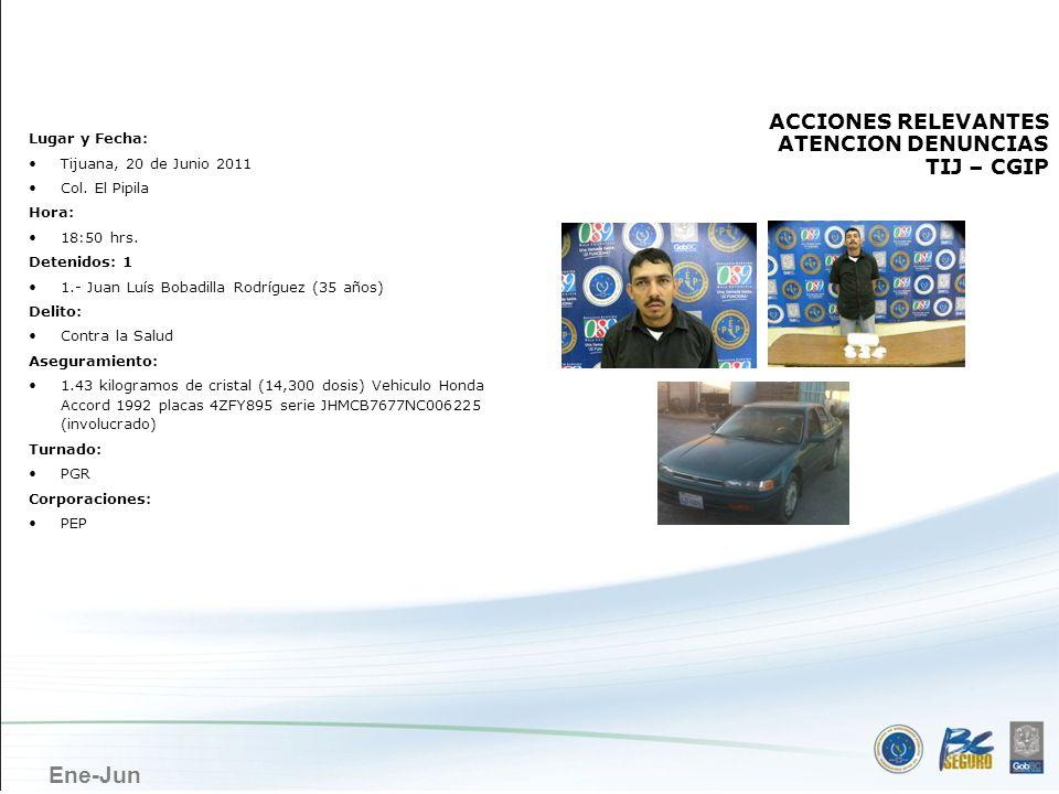 Ene-Jun TIJUANA ACCIONES RELEVANTES ATENCION DENUNCIAS TIJ – CGIP Lugar y Fecha: Tijuana, 20 de Junio 2011 Col. El Pipila Hora: 18:50 hrs. Detenidos: