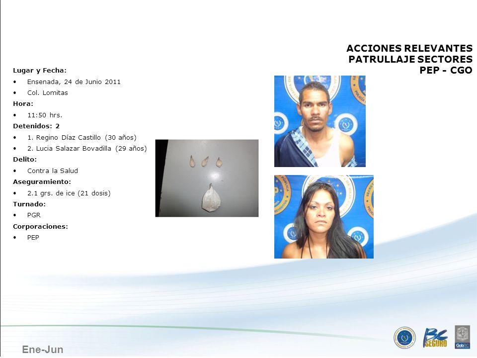 Ene-Jun ENSENADA ACCIONES RELEVANTES PATRULLAJE SECTORES PEP - CGO Lugar y Fecha: Ensenada, 24 de Junio 2011 Col. Lomitas Hora: 11:50 hrs. Detenidos: