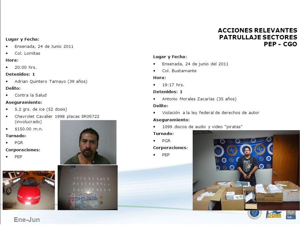 Ene-Jun ENSENADA Lugar y Fecha: Ensenada, 24 de Junio 2011 Col. Lomitas Hora: 20:00 hrs. Detenidos: 1 Adrian Quintero Tamayo (39 años) Delito: Contra