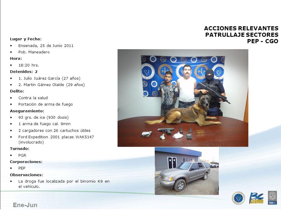 Ene-Jun ENSENADA ACCIONES RELEVANTES PATRULLAJE SECTORES PEP - CGO Lugar y Fecha: Ensenada, 25 de Junio 2011 Pob. Maneadero Hora: 18:20 hrs. Detenidos
