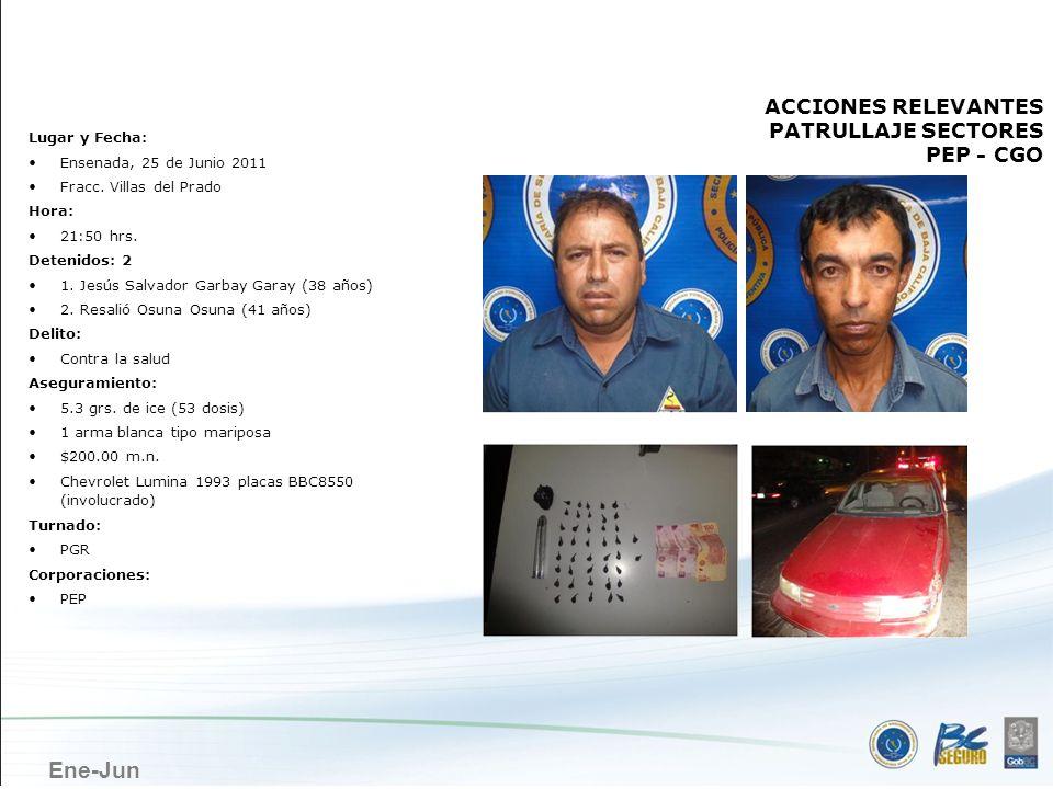 Ene-Jun ENSENADA ACCIONES RELEVANTES PATRULLAJE SECTORES PEP - CGO Lugar y Fecha: Ensenada, 25 de Junio 2011 Fracc. Villas del Prado Hora: 21:50 hrs.
