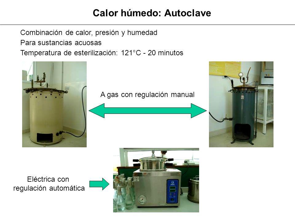 Calor húmedo: Autoclave A gas con regulación manual Eléctrica con regulación automática Combinación de calor, presión y humedad Para sustancias acuosa
