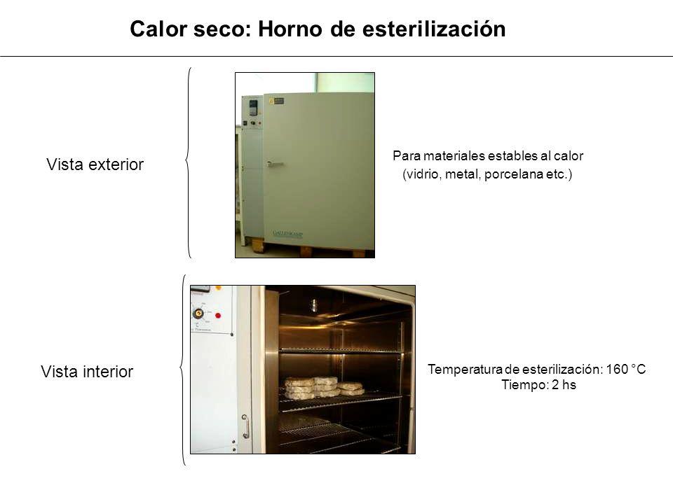 Temperatura de esterilización: 160 °C Tiempo: 2 hs Calor seco: Horno de esterilización Para materiales estables al calor (vidrio, metal, porcelana etc