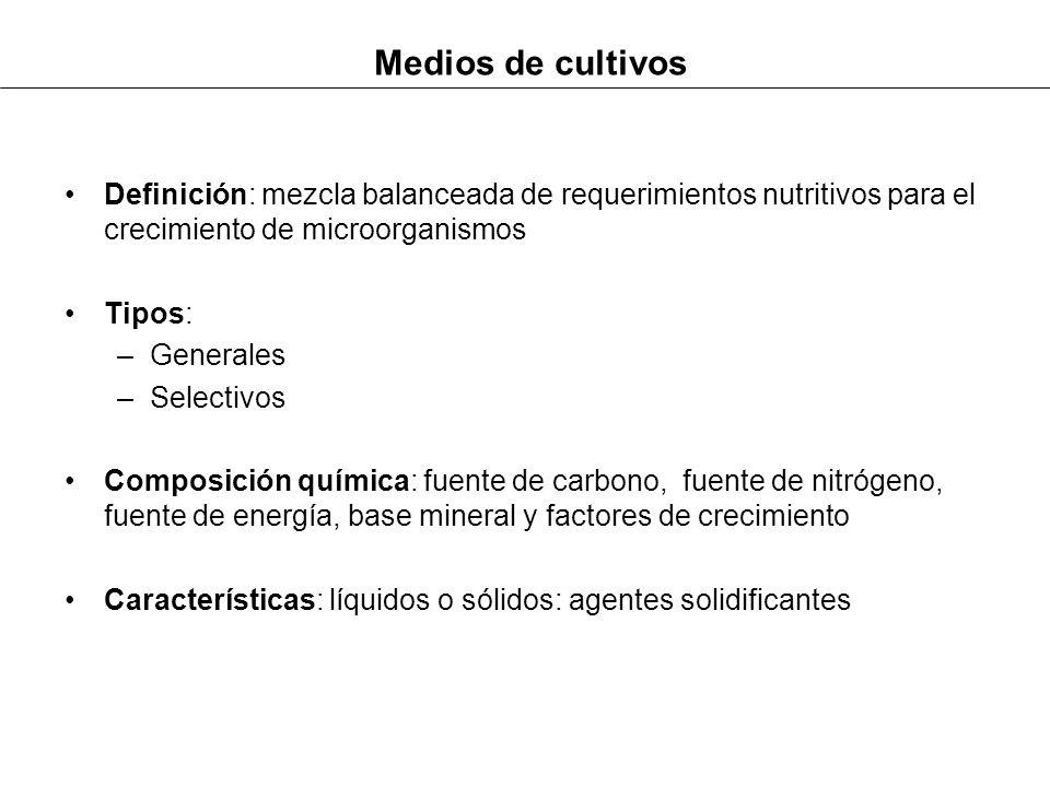 Medios de cultivos Definición: mezcla balanceada de requerimientos nutritivos para el crecimiento de microorganismos Tipos: –Generales –Selectivos Com