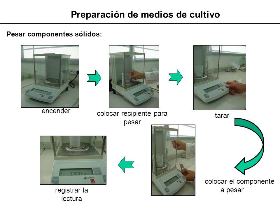 Preparación de medios de cultivo encender colocar recipiente para pesar tarar colocar el componente a pesar registrar la lectura Pesar componentes sól