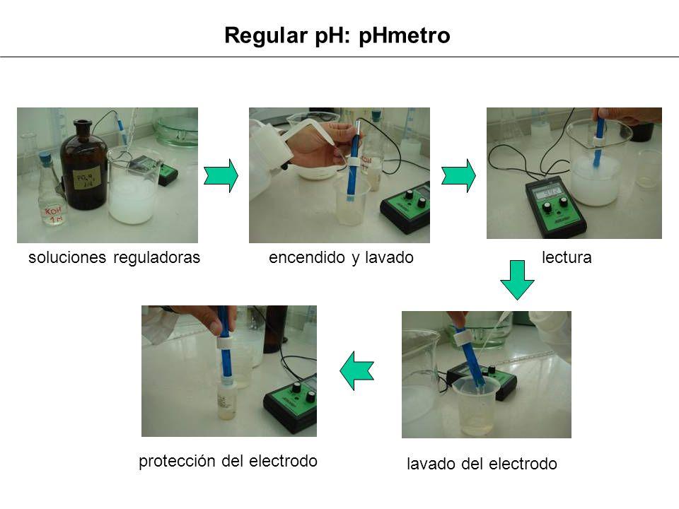 Regular pH: pHmetro soluciones reguladoras encendido y lavadolectura lavado del electrodo protección del electrodo