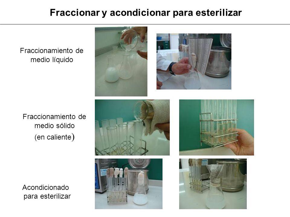 Fraccionar y acondicionar para esterilizar Fraccionamiento de medio líquido Fraccionamiento de medio sólido (en caliente ) Acondicionado para esterili