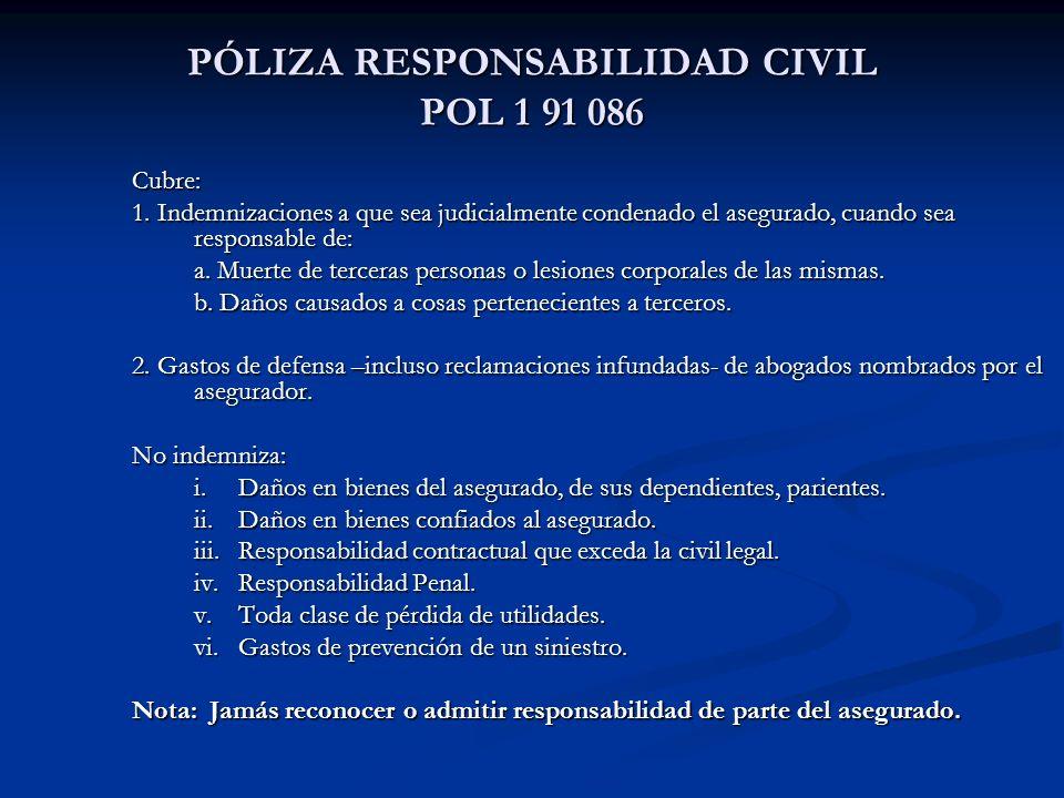 PÓLIZA RESPONSABILIDAD CIVIL POL 1 91 086 Cubre: 1.