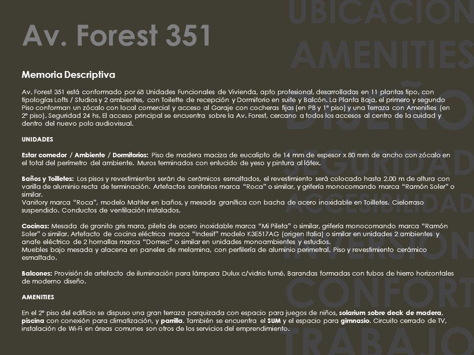UBICACION AMENITIES DISEÑO SEGURIDAD ACCESIBILIDAD INVERSION CONFORT TRABAJO Memoria Descriptiva Av. Forest 351 está conformado por 68 Unidades Funcio