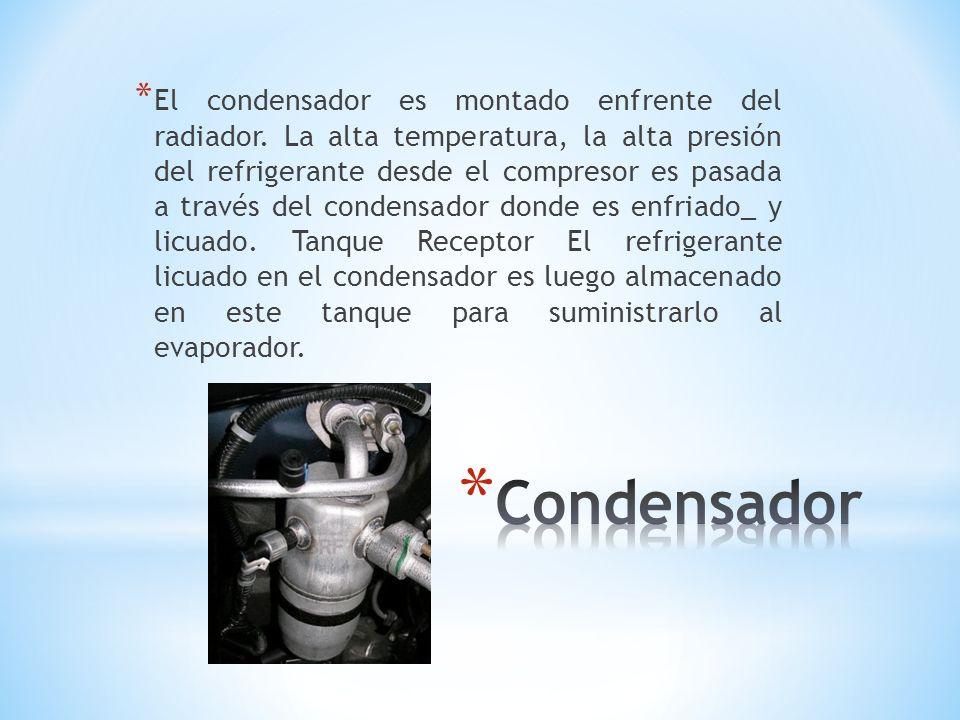 * El condensador es montado enfrente del radiador. La alta temperatura, la alta presión del refrigerante desde el compresor es pasada a través del con