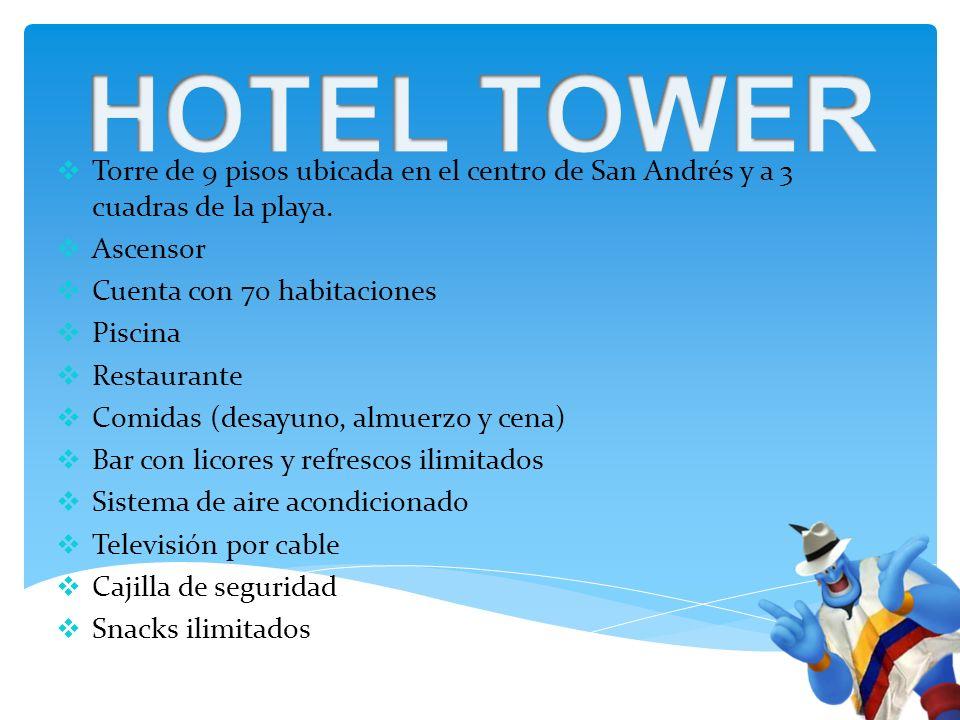 Torre de 9 pisos ubicada en el centro de San Andrés y a 3 cuadras de la playa.