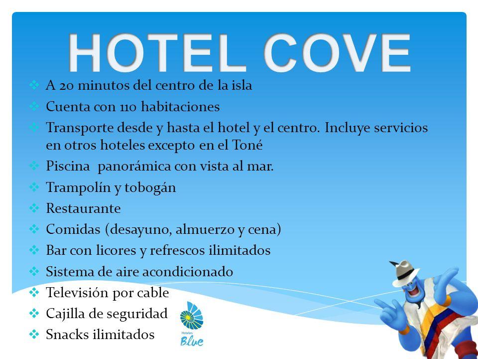 A 20 minutos del centro de la isla Cuenta con 110 habitaciones Transporte desde y hasta el hotel y el centro.
