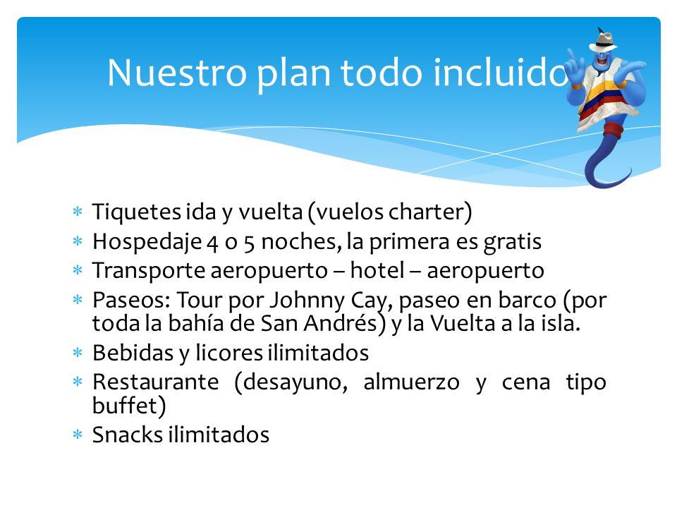 Tiquetes ida y vuelta (vuelos charter) Hospedaje 4 o 5 noches, la primera es gratis Transporte aeropuerto – hotel – aeropuerto Paseos: Tour por Johnny Cay, paseo en barco (por toda la bahía de San Andrés) y la Vuelta a la isla.