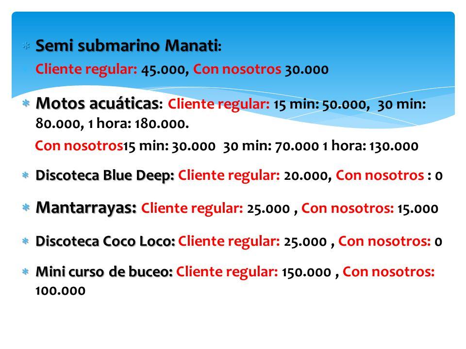 Semi submarino Manati Semi submarino Manati : Cliente regular: 45.000, Con nosotros 30.000 Motos acuáticas Motos acuáticas : Cliente regular: 15 min: 50.000, 30 min: 80.000, 1 hora: 180.000.