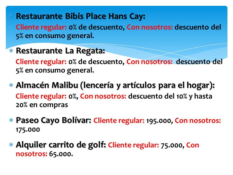 Restaurante Bibis Place Hans Cay: Restaurante Bibis Place Hans Cay: Cliente regular: 0% de descuento, Con nosotros: descuento del 5% en consumo general.