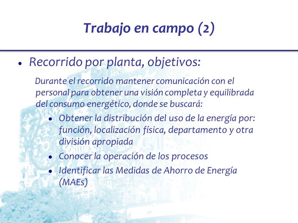 Trabajo en campo (2) Recorrido por planta, objetivos: Durante el recorrido mantener comunicación con el personal para obtener una visión completa y eq