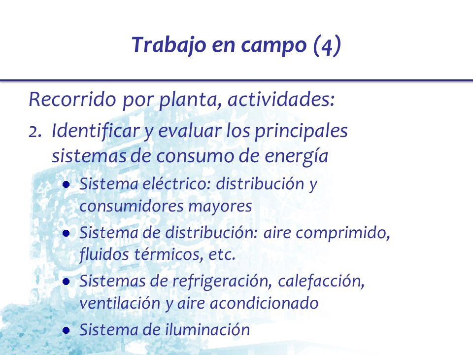 Trabajo en campo (4) Recorrido por planta, actividades: 2.Identificar y evaluar los principales sistemas de consumo de energía Sistema eléctrico: dist