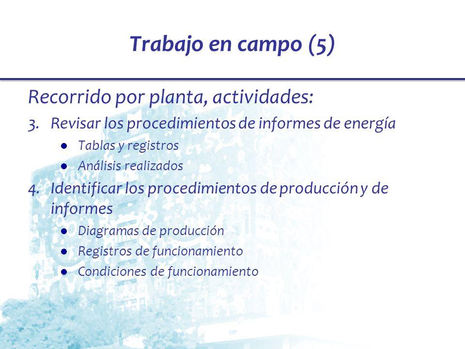 Trabajo en campo (5) Recorrido por planta, actividades: 3.Revisar los procedimientos de informes de energía Tablas y registros Análisis realizados 4.I