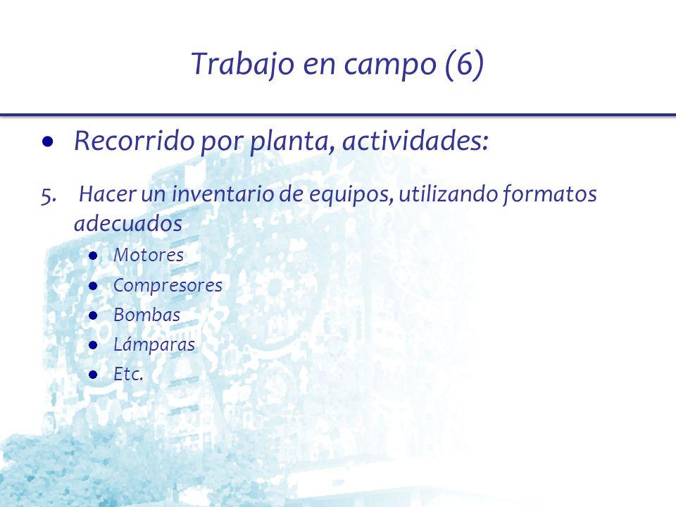 Trabajo en campo (6) Recorrido por planta, actividades: 5. Hacer un inventario de equipos, utilizando formatos adecuados Motores Compresores Bombas Lá