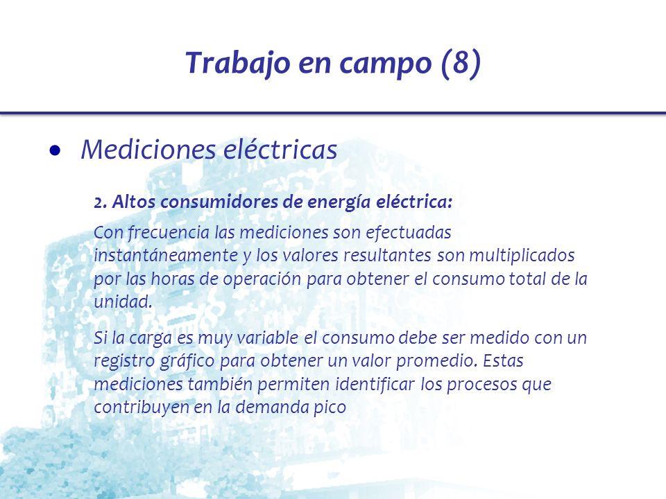 Trabajo en campo (8) Mediciones eléctricas 2. Altos consumidores de energía eléctrica: Con frecuencia las mediciones son efectuadas instantáneamente y