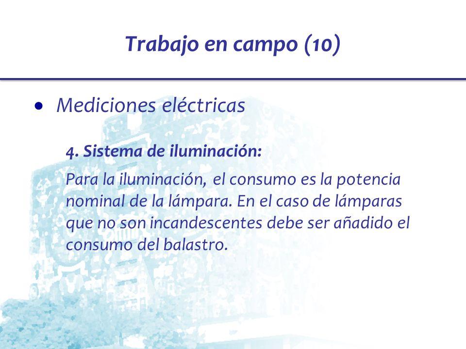 Trabajo en campo (10) Mediciones eléctricas 4. Sistema de iluminación: Para la iluminación, el consumo es la potencia nominal de la lámpara. En el cas