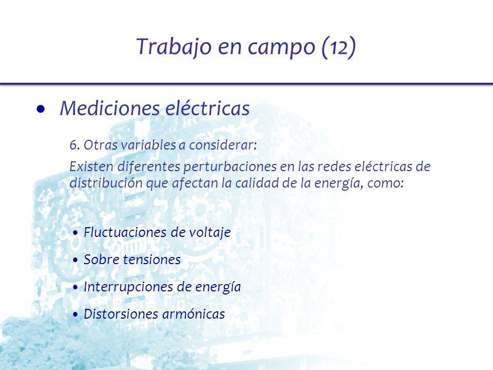 Trabajo en campo (12) Mediciones eléctricas 6. Otras variables a considerar: Existen diferentes perturbaciones en las redes eléctricas de distribución