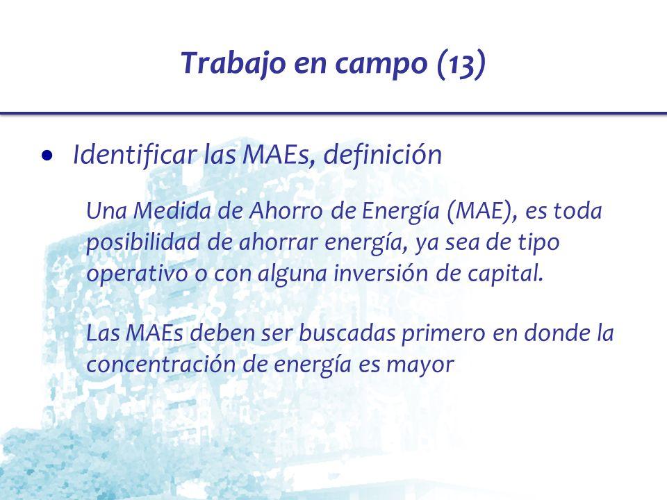 Trabajo en campo (13) Identificar las MAEs, definición Una Medida de Ahorro de Energía (MAE), es toda posibilidad de ahorrar energía, ya sea de tipo o