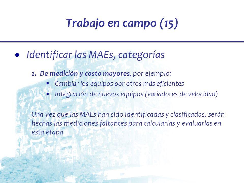 Trabajo en campo (15) Identificar las MAEs, categorías 2. De medición y costo mayores, por ejemplo: Cambiar los equipos por otros más eficientes Integ