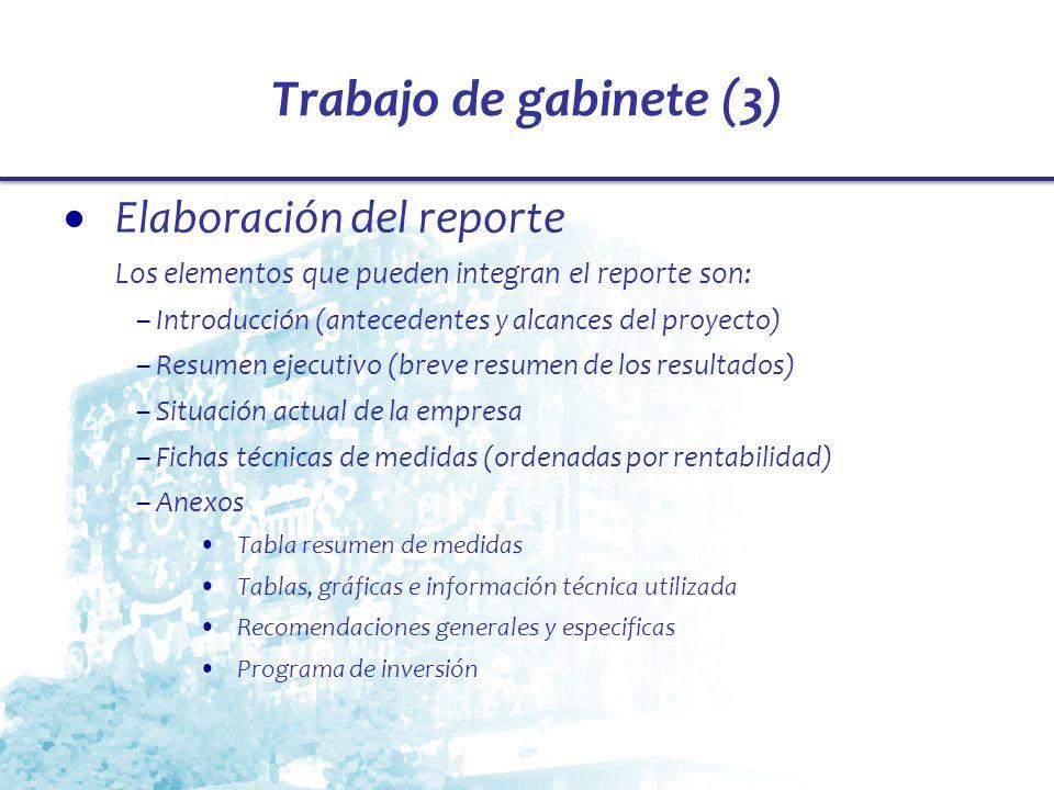 Trabajo de gabinete (3) Elaboración del reporte Los elementos que pueden integran el reporte son: – Introducción (antecedentes y alcances del proyecto