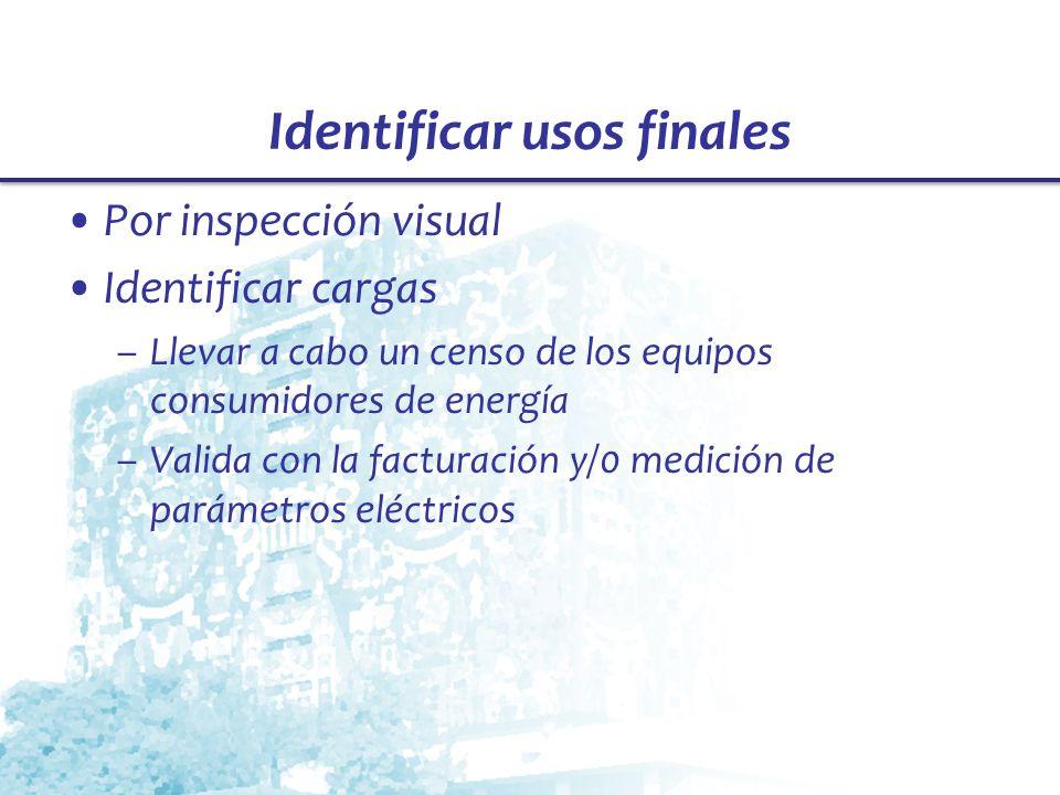 Identificar usos finales Por inspección visual Identificar cargas –Llevar a cabo un censo de los equipos consumidores de energía –Valida con la factur