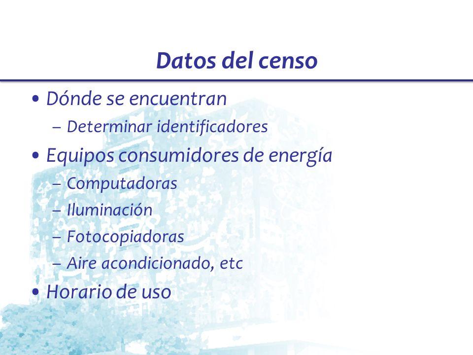 Datos del censo Dónde se encuentran –Determinar identificadores Equipos consumidores de energía –Computadoras –Iluminación –Fotocopiadoras –Aire acond