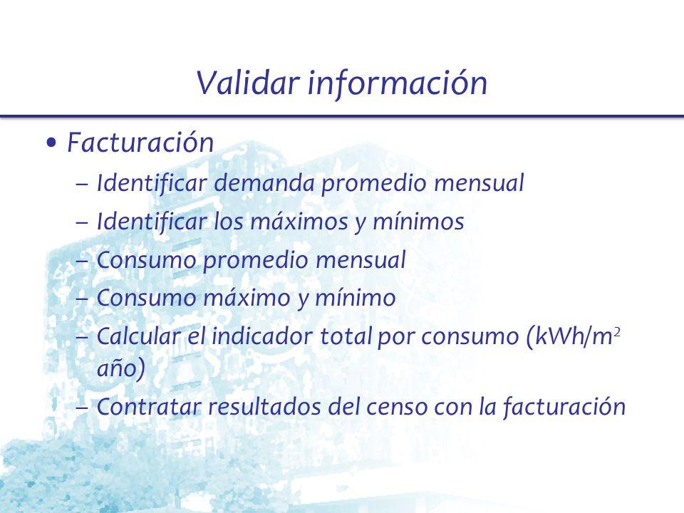 Validar información Facturación –Identificar demanda promedio mensual –Identificar los máximos y mínimos –Consumo promedio mensual –Consumo máximo y m