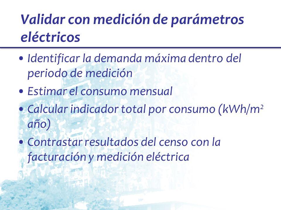 Validar con medición de parámetros eléctricos Identificar la demanda máxima dentro del periodo de medición Estimar el consumo mensual Calcular indicad