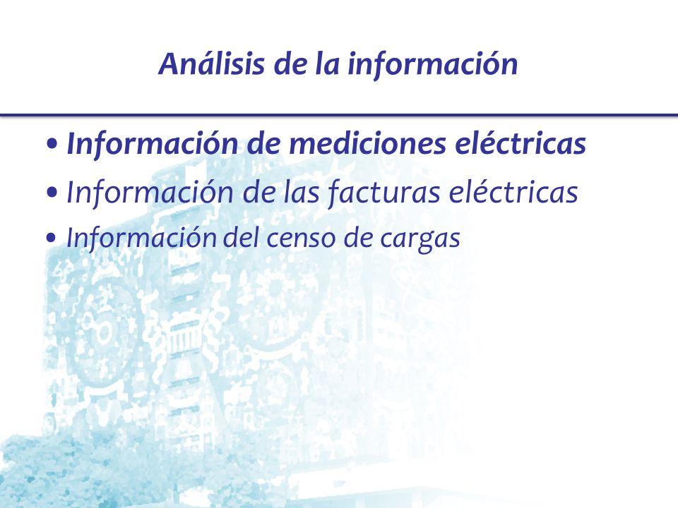 Análisis de la información Información de mediciones eléctricas Información de las facturas eléctricas Información del censo de cargas