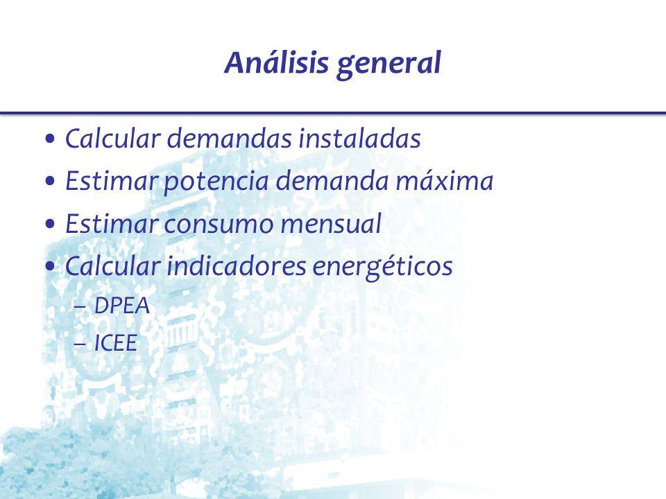 Análisis general Calcular demandas instaladas Estimar potencia demanda máxima Estimar consumo mensual Calcular indicadores energéticos –DPEA –ICEE