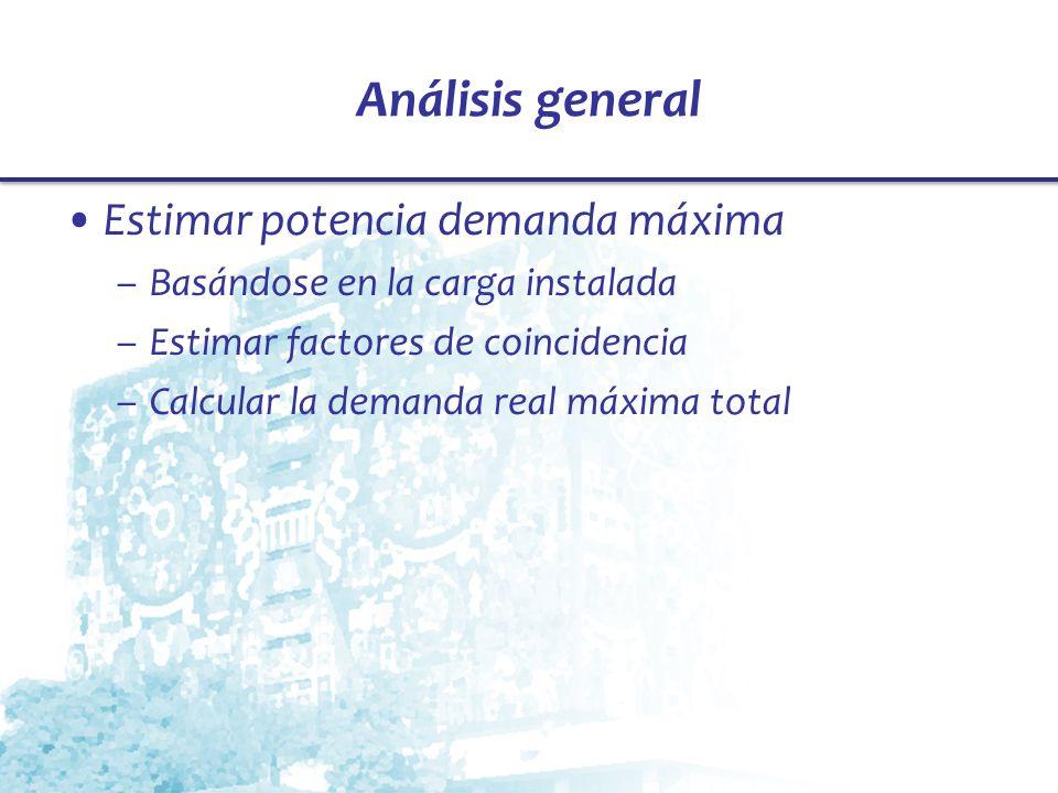 Análisis general Estimar potencia demanda máxima –Basándose en la carga instalada –Estimar factores de coincidencia –Calcular la demanda real máxima t