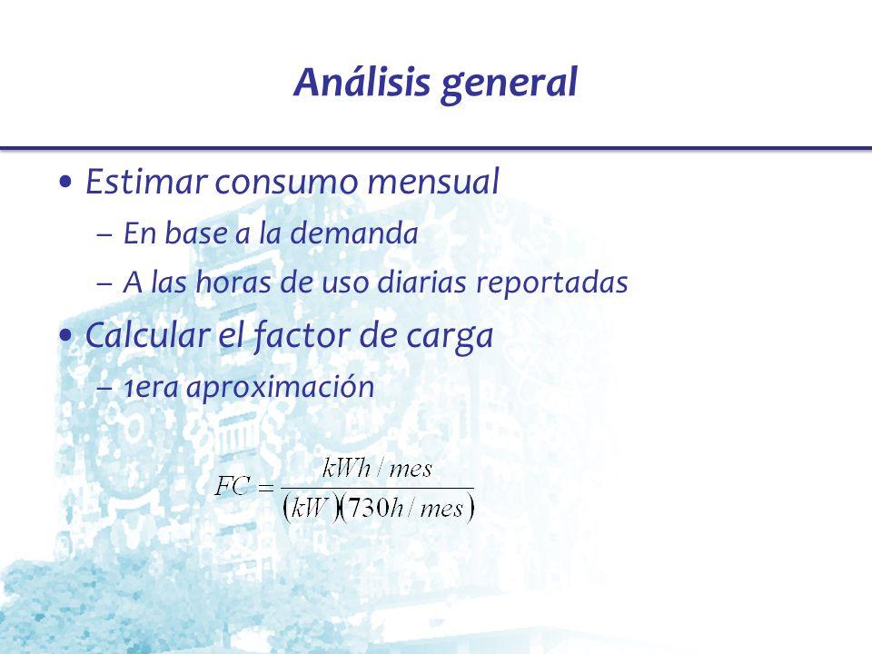 Análisis general Estimar consumo mensual –En base a la demanda –A las horas de uso diarias reportadas Calcular el factor de carga –1era aproximación