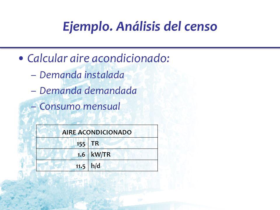 Ejemplo. Análisis del censo Calcular aire acondicionado: –Demanda instalada –Demanda demandada –Consumo mensual AIRE ACONDICIONADO 155TR 1.6kW/TR 11.5