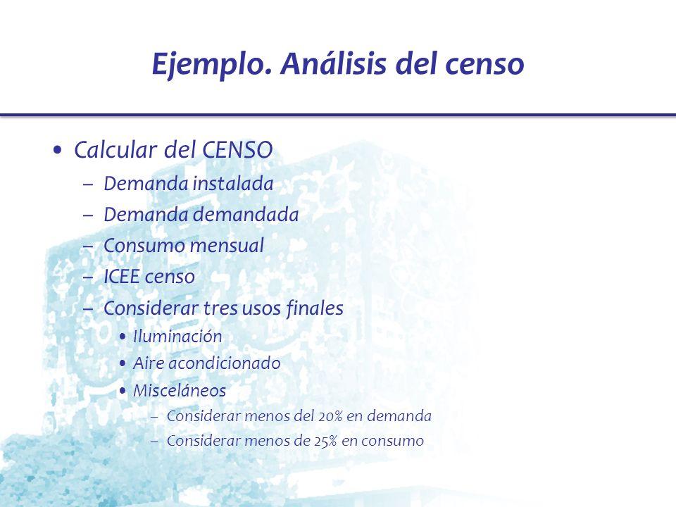 Ejemplo. Análisis del censo Calcular del CENSO –Demanda instalada –Demanda demandada –Consumo mensual –ICEE censo –Considerar tres usos finales Ilumin