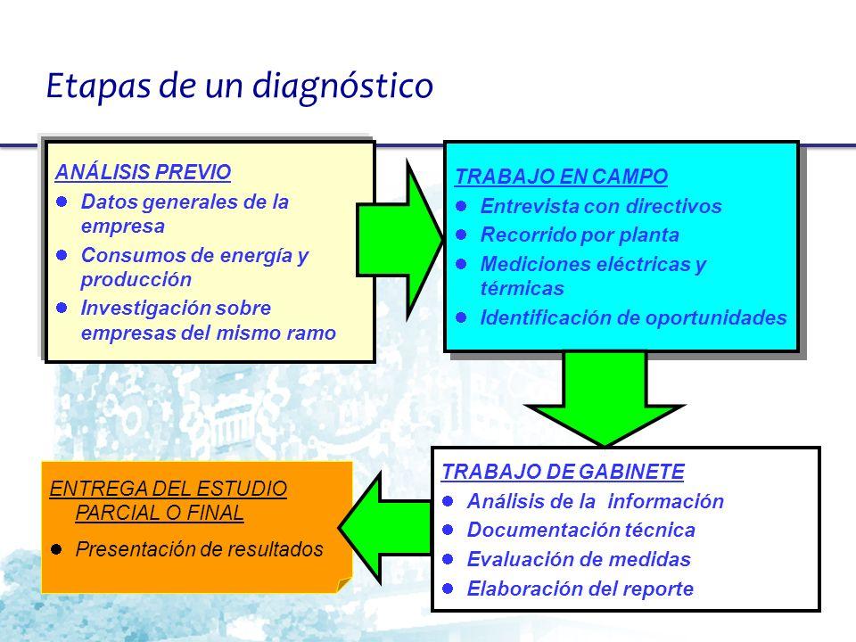 ENTREGA DEL ESTUDIO PARCIAL O FINAL Presentación de resultados ANÁLISIS PREVIO Datos generales de la empresa Consumos de energía y producción Investig
