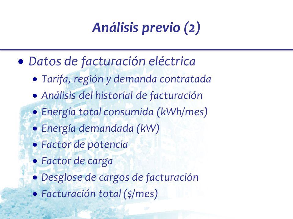 Análisis previo (2) Datos de facturación eléctrica Tarifa, región y demanda contratada Análisis del historial de facturación Energía total consumida (