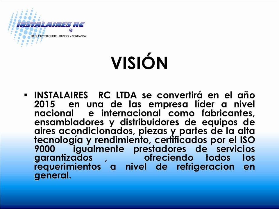 VISIÓN INSTALAIRES RC LTDA se convertirá en el año 2015 en una de las empresa líder a nivel nacional e internacional como fabricantes, ensambladores y distribuidores de equipos de aires acondicionados, piezas y partes de la alta tecnología y rendimiento, certificados por el ISO 9000 igualmente prestadores de servicios garantizados, ofreciendo todos los requerimientos a nivel de refrigeracion en general.