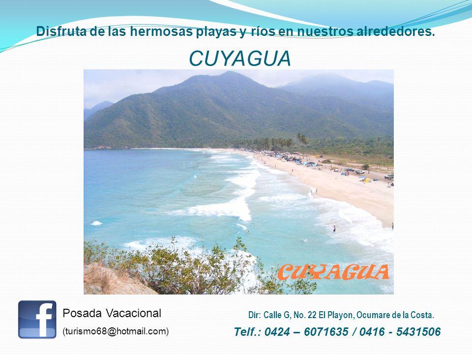 Disfruta de las hermosas playas y ríos en nuestros alrededores. CUYAGUA Posada Vacacional (turismo68@hotmail.com) Telf.: 0424 – 6071635 / 0416 - 54315