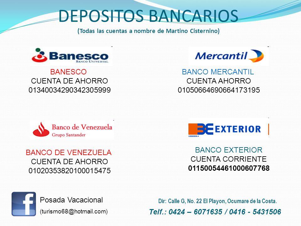 BANESCO CUENTA DE AHORRO 01340034290342305999 BANCO MERCANTIL CUENTA AHORRO 01050664690664173195 BANCO DE VENEZUELA CUENTA DE AHORRO 01020353820100015